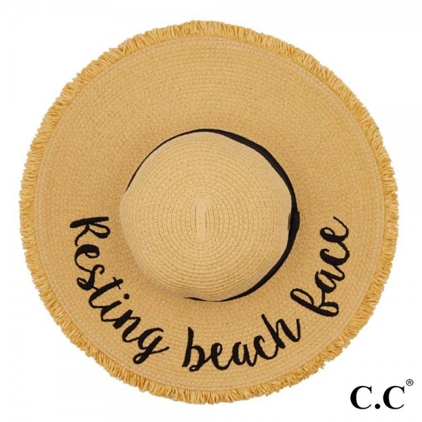 """C.C ST-2025 (Natural) Resting Beach Face paper straw fringe trim wide brim sun hat with ribbon  - One size fits most - Inside adjustable drawstring - Brim width 4.5"""" - 100% Paper"""