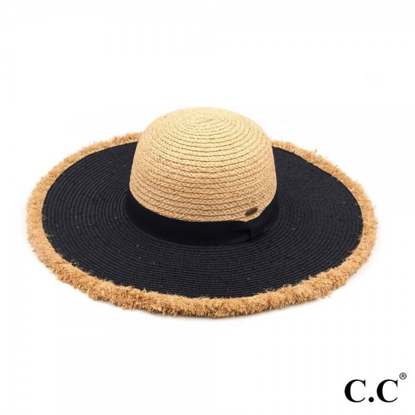 "C.C ST-3010 Mixed Raffia and Paper Straw Sequins Frayed Sun Hat  - One size fits most - Adjustable inside drawstring - Brim Width 4"" - Crown/Fringe: 100% Raffia - Brim: 100% Paper"
