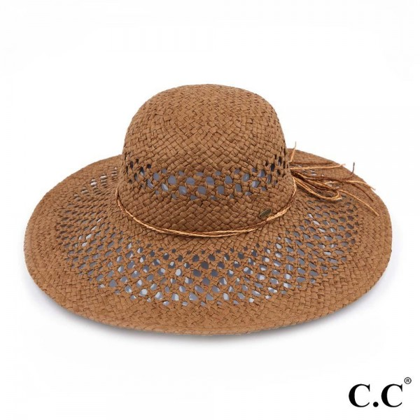 "C.C ST-3011 Open Basket Weave Sun Hat with Twine Ribbon  - One size fits most - Adjustable inside drawstring - Brim Width 4.5"" - 100% Paper"