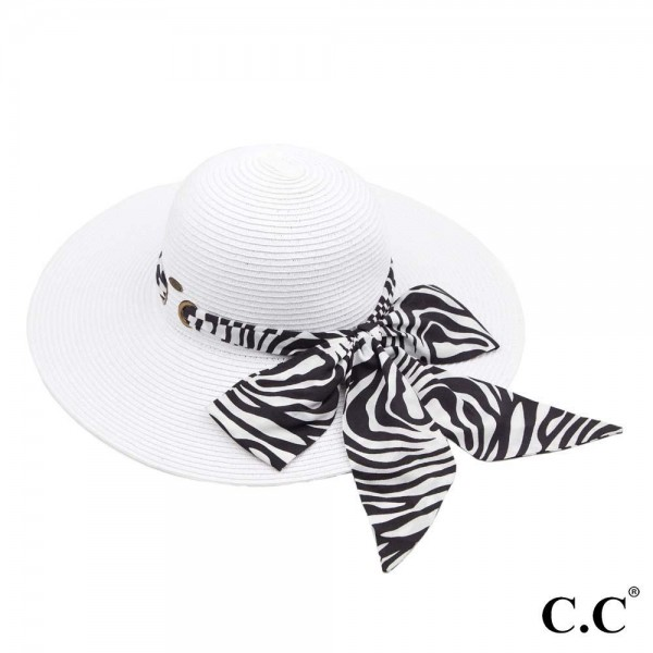 "C.C ST-3019 Paper straw wide brim hat with decorative pull through sash scarf   - UPF 50+ - One size fits most - Inside adjustable drawstring - Brim width 4.5"" - 100% Paper"