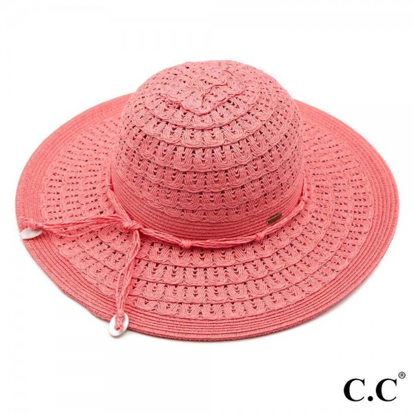"C.C ST-805 Wave pattern paper straw sun hat with twine shell ribbon  - One size fits most  - Inside adjustable drawstring - Brim width 4.5""  - 80% Paper, 20% Polyester"