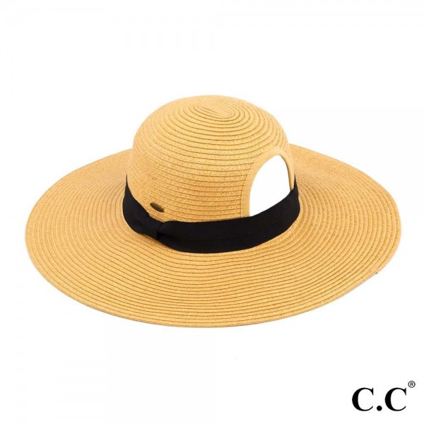 """C.C ST-2027 Paper straw wide brim pony hat with ribbon  - Ponytail opening  - Brim approximately 4.5""""  - Inside adjustable drawstring - One size fits most - 100% Paper"""