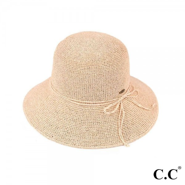 "C.C ST-3013 Paper straw sun hat with decorative twine ribbon  - UPF 50+ - One size fits most - Inside adjustable drawstring - Brim width 4"" - 100% Paper"