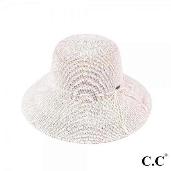 "C.C ST-3013 Paper straw sun hat with decorative twine ribbon  - UPF 50+ - One size fits most - Inside adjustable drawstring - Brim width 4"" - 100% Paper"