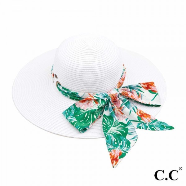 "C.C ST-3017 Paper straw wide brim hat with decorative pull through sash scarf   - UPF 50+ - One size fits most - Inside adjustable drawstring - Brim width 4"" - 100% Paper"