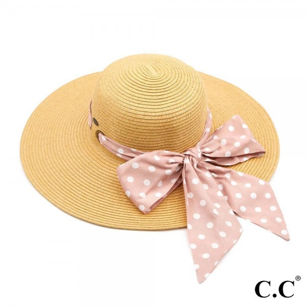 "C.C ST-3020 Paper straw wide brim hat with decorative pull through sash scarf   - UPF 50+ - One size fits most - Inside adjustable drawstring - Brim width 4"" - 100% Paper"