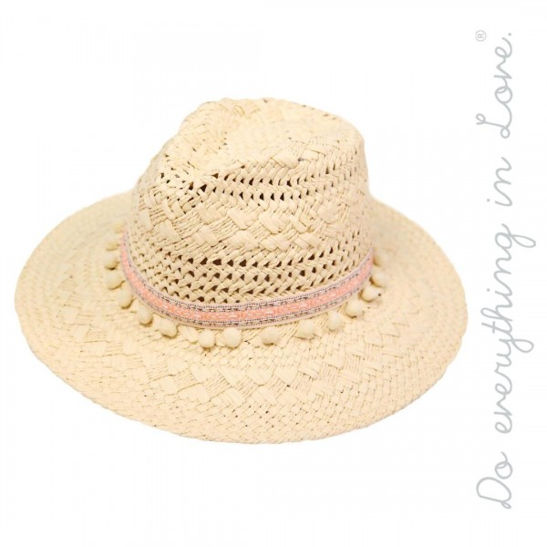"Do everything in Love brand Beige paper straw panama hat with pom pom band.  - One size fits most  - Adjustable inside drawstring - Brim width 3.5""  - 100% Paper"