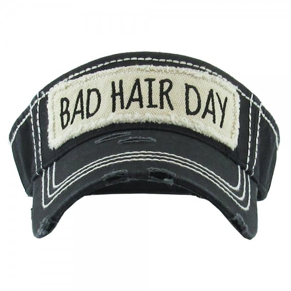 """Bad Hair Day"" Vintage Distressed Sun Visor.  - One size fits most - Adjustable Velcro Closure - 100% Cotton"