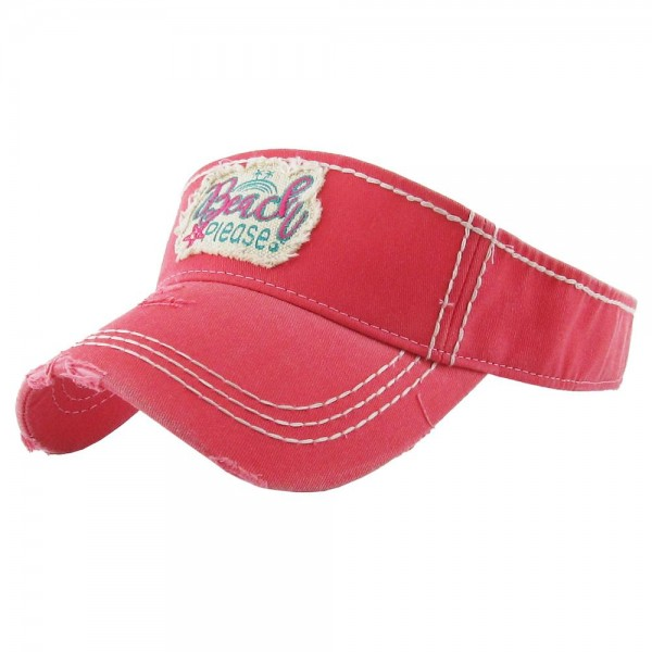 """Beach Please"" Embroidered Distressed Sun Visor.  - One size fits most - Adjustable Velcro Closure - 100% Cotton"