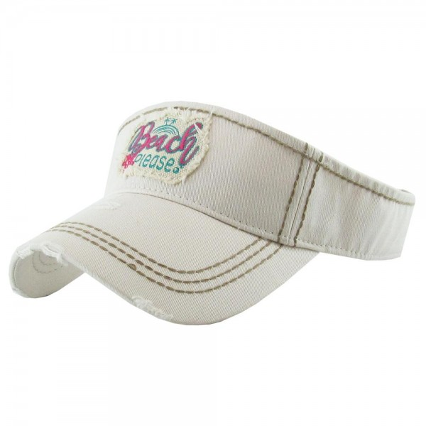 """""""Beach Please"""" Embroidered Distressed Sun Visor.  - One size fits most - Adjustable Velcro Closure - 100% Cotton"""