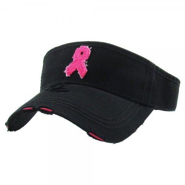 Breast Cancer Awareness Vintage Distressed Sun Visor.  - One size fits most - Adjustable Velcro Closure - 100% Cotton