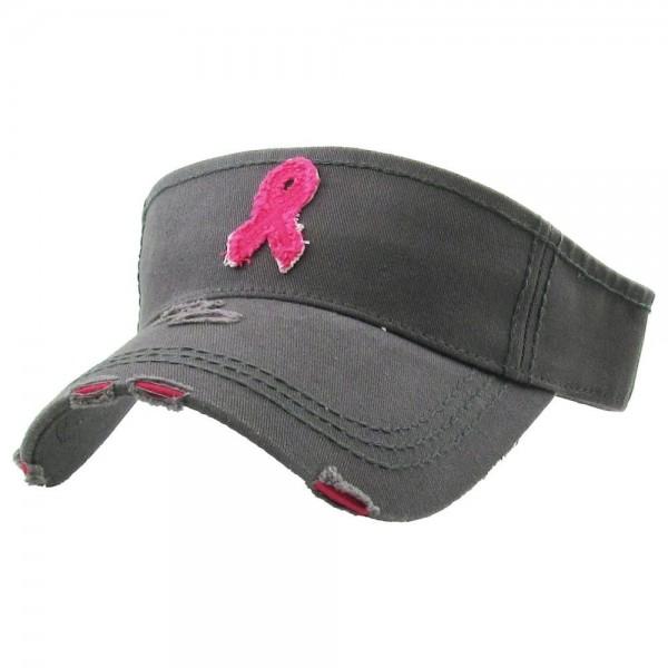 Wholesale breast Cancer Awareness Vintage Distressed Sun Visor One fits most Adj