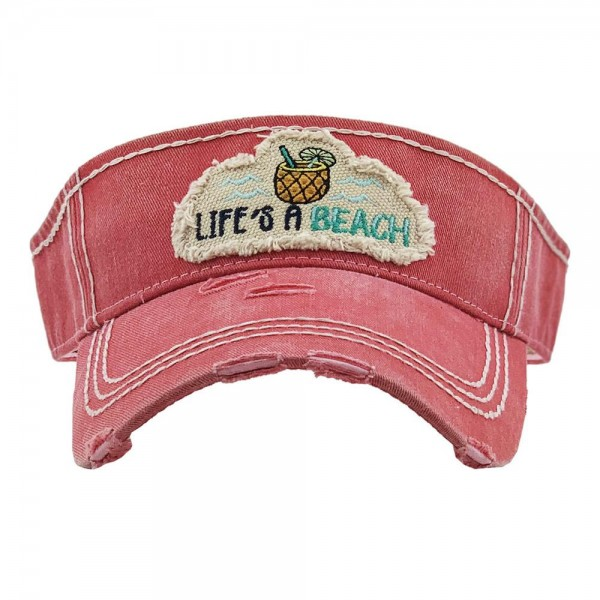 Wholesale life s Beach Summertime Embroidered Distressed Sun Visor One fits most
