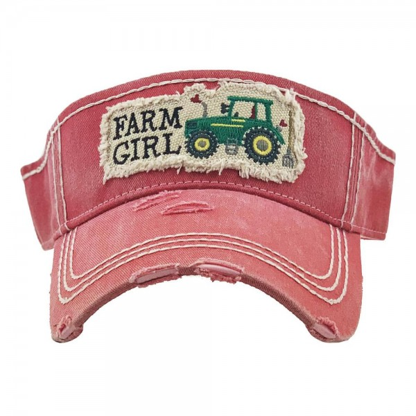 Wholesale farm Girl Tractor Embroidered Distressed Sun Visor One fits most Adjus