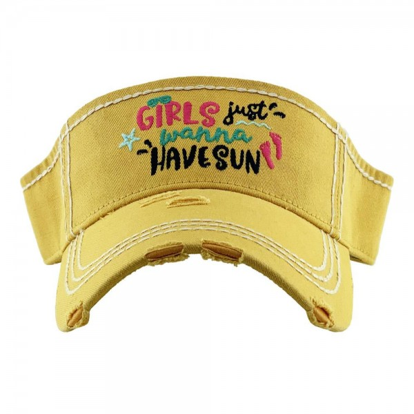 Wholesale girls Just Wanna Have Sun Summertime Embroidered Distressed Sun Visor