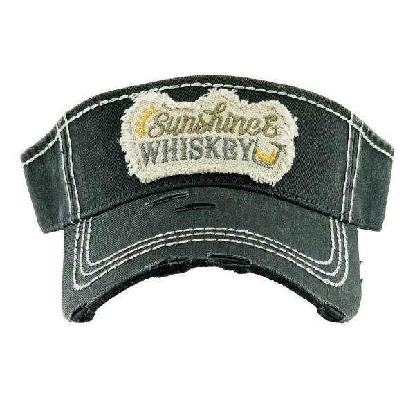 Wholesale sunshine Whiskey Embroidered Distressed Sun Visor One fits most Adjust