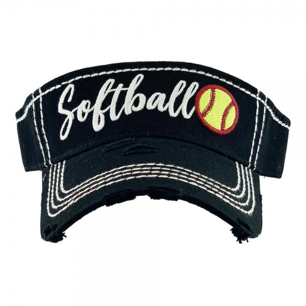 Softball Embroidered Distressed Sun Visor.  - One size fits most - Adjustable Velcro Closure - 100% Cotton
