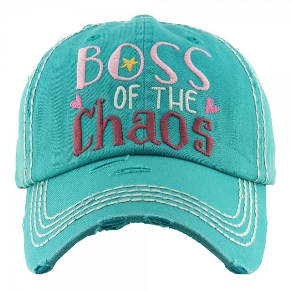 Boss of The Chaos Embroidered Distressed Baseball Cap.  - One size fits most - Adjustable Velcro Closure - 100% Cotton
