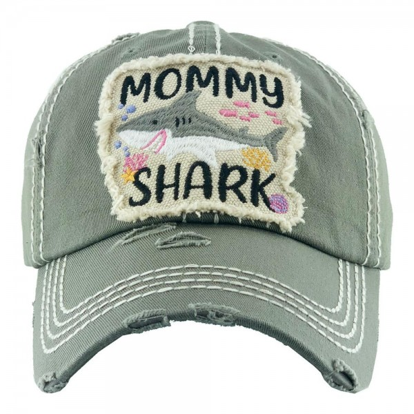 Mommy Shark Embroidered Distressed Baseball Cap.  - One size fits most - Adjustable Velcro Closure - 100% Cotton
