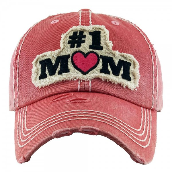 #1 Mom Embroidered Distressed Baseball Cap.  - One size fits most - Adjustable Velcro Closure - 100% Cotton