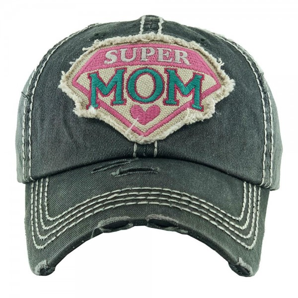Super Mom Embroidered Distressed Baseball Cap.  - One size fits most - Adjustable Velcro Closure - 100% Cotton