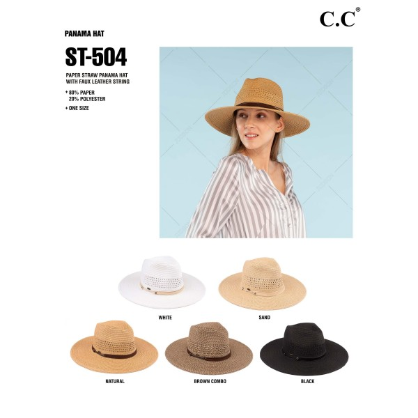 """C.C ST-504 Paper straw wide brim Panama hat with faux leather string band   - One size fits most  - Adjustable inside drawstring - Brim Width 4""""  - 80% Paper / 20% Polyester"""