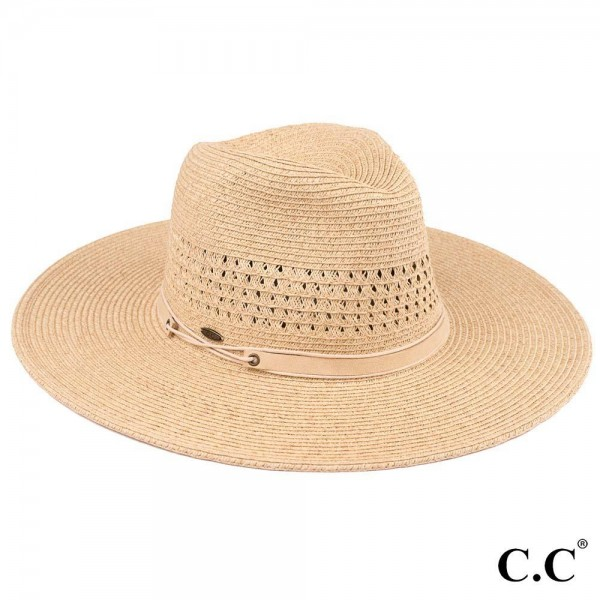 "C.C ST-504 Paper straw wide brim Panama hat with faux leather string band   - One size fits most  - Adjustable inside drawstring - Brim Width 4""  - 80% Paper / 20% Polyester"