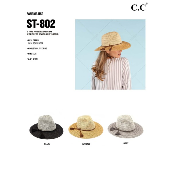 """C.C ST-802  Two tone paper straw wide brim sun hat with faux suede braided tassel band  - One size fits most  - Adjustable inside drawstring - Brim Width 3""""  - 80% Paper / 20% Polyester"""