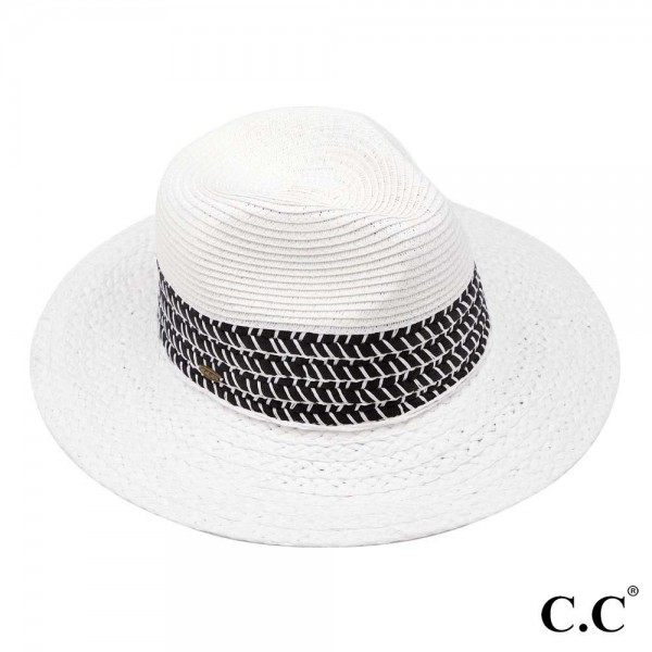 "C.C ST-803 Paper straw Panama hat with woven whipstitched band   - One size fits most - Adjustable inside drawstring - Brim Width 3""  - 80% Paper / 20% Polyester"