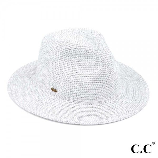 "C.C ST-807 Paper straw Panama hat with lurex  - One size fits most  - Adjustable inside drawstring - Brim Width 3""  - 88% Paper / 12% Polyester"