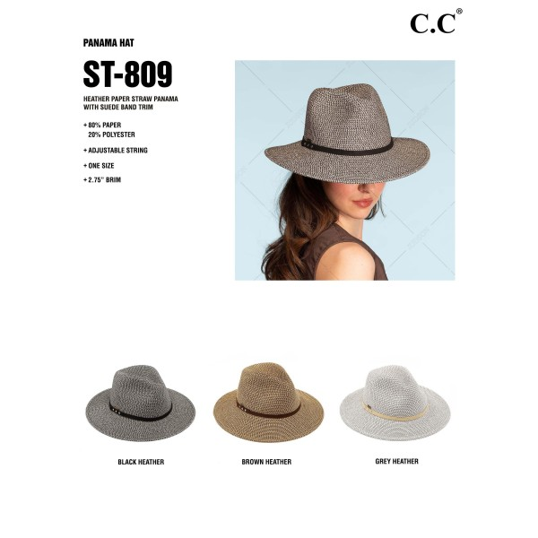 """C.C ST-809 Heather paper straw Panama hat with faux suede band   - One size fits most - Adjustable inside drawstring  - Brim Width 3"""" - 80% Paper / 20% Polyester"""