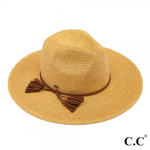 "C.C ST-810 Paper straw wide brim Panama hat with faux suede braided tassel band   - One size fits most - Adjustable inside drawstring - Brim Width 4""  - 80% Paper / 20% Polyester"