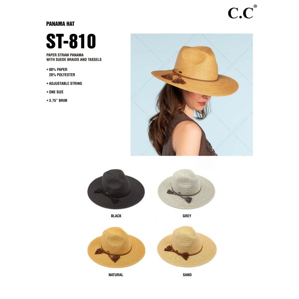 """C.C ST-810 Paper straw wide brim Panama hat with faux suede braided tassel band   - One size fits most - Adjustable inside drawstring - Brim Width 4""""  - 80% Paper / 20% Polyester"""
