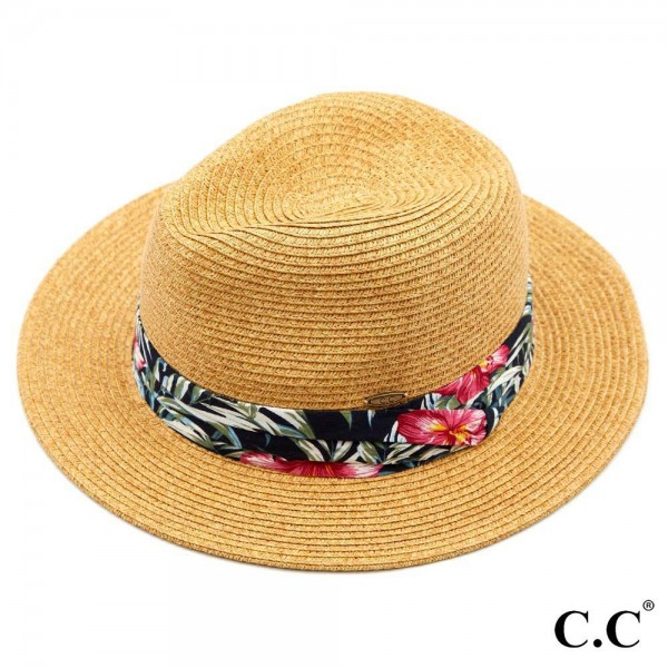 "C.C ST-820 Paper Fedora hat with tropical print band  - One size fits most - Adjustable inside drawstring - Brim Width 2.5"" - 80% Paper / 20% Polyester"