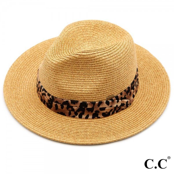"C.C ST-821 Paper Fedora hat with leopard print band  - One size fits most - Adjustable inside drawstring - Brim Width 2.5"" - 80% Paper / 20% Polyester"