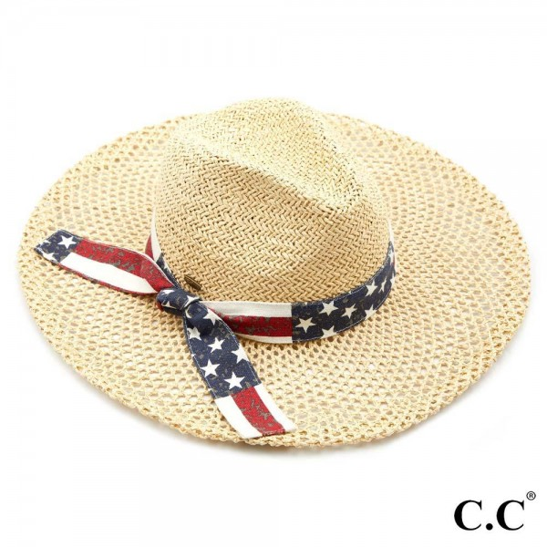 "C.C ST-905 Honeycomb Paper Straw Shape Panama Hat with American Flag Ribbon  - Brim approximately 3.75"" - Inside adjustable drawstring - One size fits most - 100% Paper"