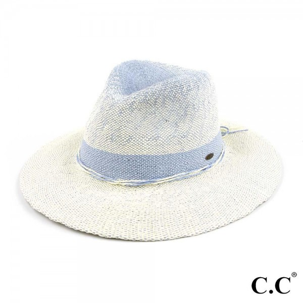 "C.C ST-903 Two Tone Gradient Panama Hat   - One size fits most - Adjustable inside drawstring - Brim Width 3"" - 100% Paper"