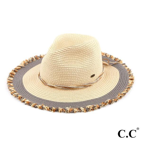 """C.C ST-901 Mixed Raffia/Paper Wide Brim Sun Hat Featuring Twine Band & Raffia Trim  - One size fits most - Brim Width: 3.5"""" - 100% Paper"""