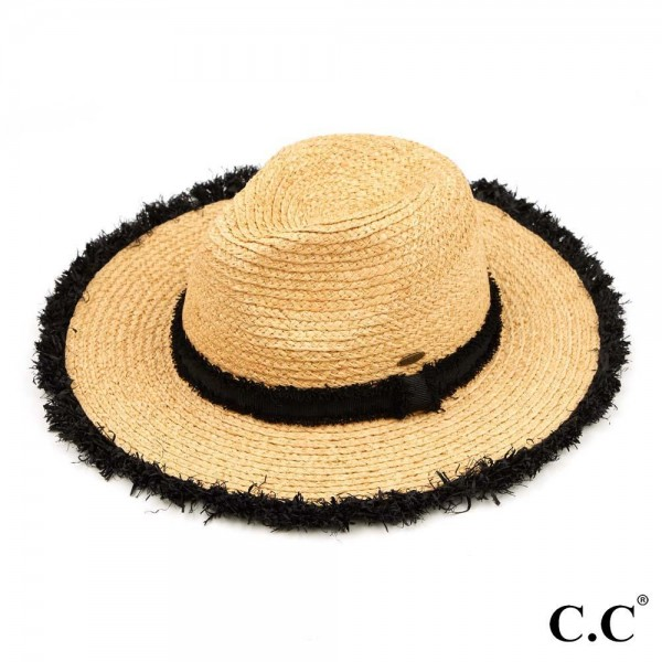 "C.C ST-904 Raffia Panama hat with frayed grosgrain band  - One size fits most - Adjustable inside drawstring  - Brim Width 3.25"" - 100% Raffia"