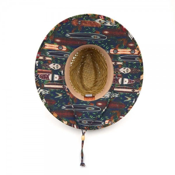Woven Bamboo Wide Brim Lifeguard Hat Featuring Floral Accents.   - 100% Straw - Adjustable Drawstring Inside Hat for Perfect Fit - Adjustable Chin Strap
