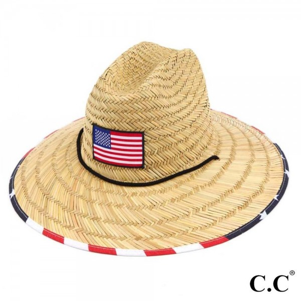 Woven Bamboo Wide Brim Lifeguard Hat Featuring Patriotic Accents.   - 100% Straw - Adjustable Drawstring Inside Hat for Perfect Fit - Adjustable Chin Strap