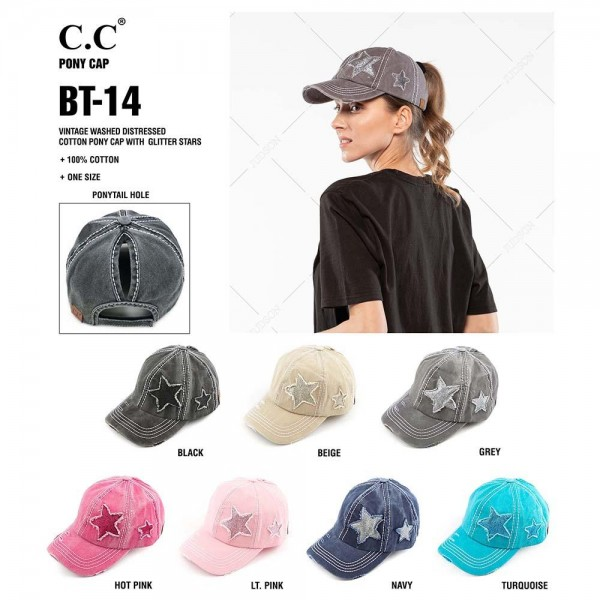 C.C BT-14 Glittery Star Vintage Baseball Pony Cap  - One size fits most - Adjustable velcro closure - Ponytail hole opening  - 100% Cotton