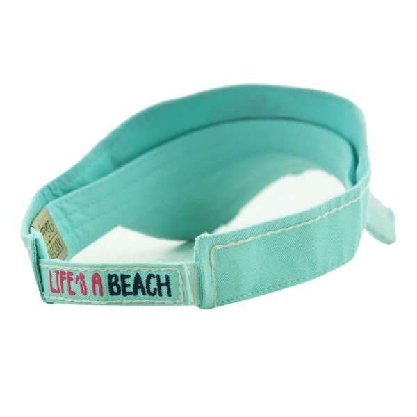 Life's A Beach Summertime Embroidered Distressed Sun Visor.  - One size fits most - Adjustable Velcro Closure - 100% Cotton