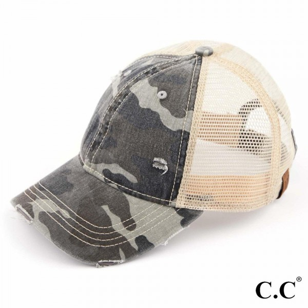 C.C BA-914-#1 Distressed Camouflage Baseball Cap with Mesh Back  - One size fits most - Adjustable Velcro Closure - 70% Cotton / 30% Polyester