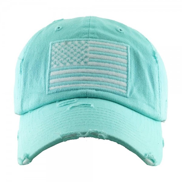 Distressed American Flag Embroidered Baseball Cap with Flag Color.  - One size fits most - Adjustable back strap - 100% Cotton