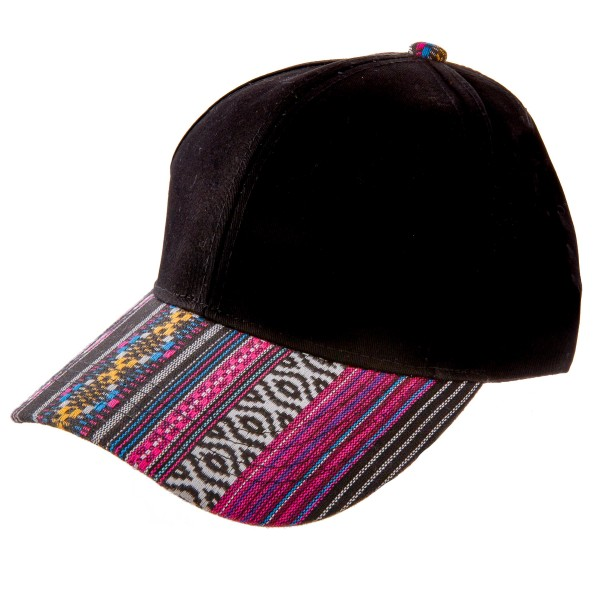C.C BA-84-BLACK/BLACK Solid Black Hat with Aztec Print Bib  - One size fits most - Adjustable Velcro Closure - 60% Cotton / 40% Polyester