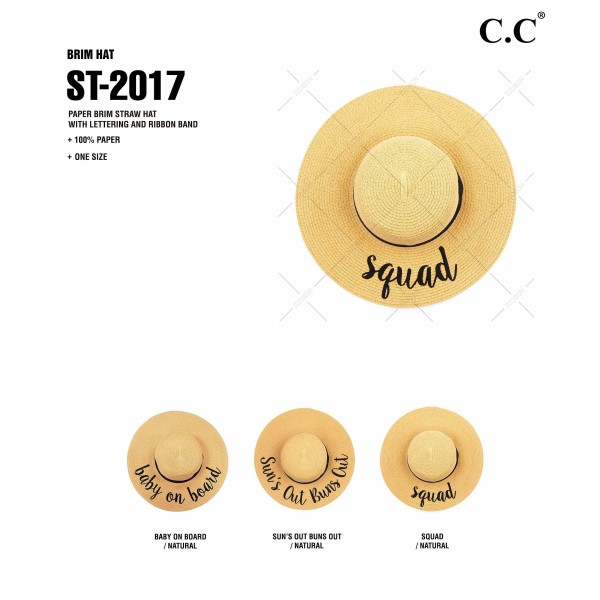 "C.C ST-2017 (Natural) ""Squad"" paper straw wide brim sun hat with ribbon  - One size fits most - Inside adjustable drawstring - Brim width 4.5"" - 100% Paper"