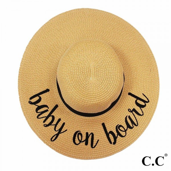 "C.C ST-2017 (Natural) ""Baby on Board"" paper straw wide brim sun hat with ribbon  - One size fits most - Inside adjustable drawstring - Brim width 4.5"" - 100% Paper"