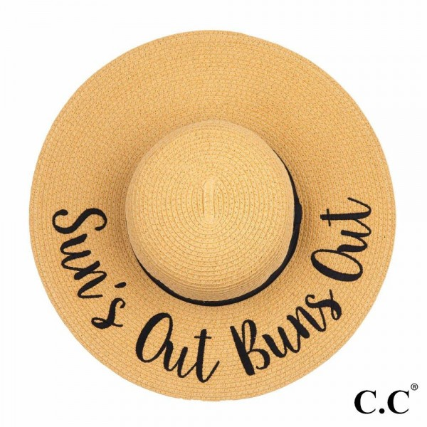 "C.C ST-2017 (Natural) ""Sun's Out Buns Out"" paper straw wide brim sun hat with ribbon  - One size fits most - Inside adjustable drawstring - Brim width 4.5"" - 100% Paper"