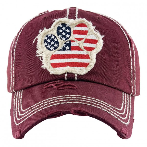 Vintage Distressed Baseball Cap Featuring American Flag Dog Paw Print.  - One size fits most - Adjustable Velcro Closure - 100% Cotton